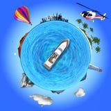 Illustration de concept qui montre plusieurs destinations de voyage Photographie stock libre de droits