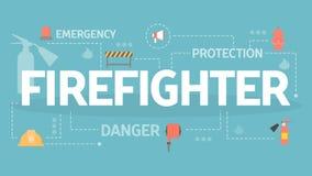 Illustration de concept de sapeur-pompier Ensemble d'équipement de pompier illustration libre de droits