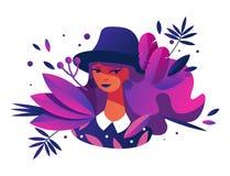 Illustration de concept de vecteur avec le caractère plat de jeune femme et la verdure vive dessinés avec bleu-foncé, le rose et  illustration stock