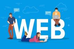 Illustration de concept de Web Les jeunes à l'aide des instruments mobiles tels que le PC et le smartphone de comprimé pour les s illustration stock