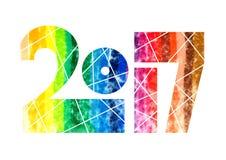 Illustration 2017 de conception d'aquarelle d'arc-en-ciel d'année illustration libre de droits