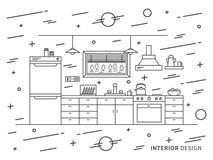 Illustration de conception d'intérieur moderne de cuisine de concepteur illustration stock