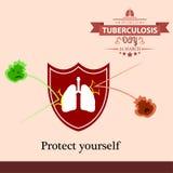 Illustration 04 de conception de bande dessinée de jour de tuberculose du monde Images libres de droits