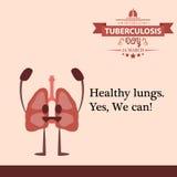 Illustration 02 de conception de bande dessinée de jour de tuberculose du monde Photographie stock