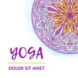 Illustration de conception de calibre de vintage de jour international de yoga Modèle oriental, illustration L'Islam, Indien arab Photo stock