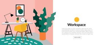 Illustration de conception intérieure de vecteur photo d'étude de bureau chaise, bureau et lampe Dessin mignon meubles Photos stock