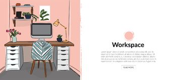 Illustration de conception intérieure de vecteur photo d'étude de bureau chaise, bureau et lampe Dessin mignon meubles Photo libre de droits