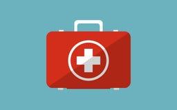 Illustration de conception moderne plate de coffre de médecine avec l'ombre Photo stock