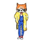 Illustration de couleur d'un chat dans un costume illustration libre de droits