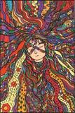 Illustration de couleur de cheveux de fille d'imagination illustration stock