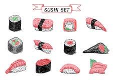 Illustration de couleur tirée par la main de sushi et de petits pains Photo stock