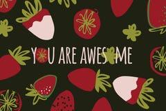 Illustration de couleur tirée par la main de fraise pour votre conception : sacs, T-shirts, papier peint Image stock