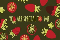 Illustration de couleur tirée par la main de fraise pour votre conception : sacs, T-shirts, papier peint Photographie stock libre de droits