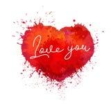 Illustration de couleur de vecteur de coeur d'éclaboussure de peinture L'aquarelle d'amour éclabousse le dessin illustration de vecteur