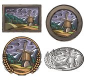 Illustration de Countrylife et de ferme dans le style de gravure sur bois Photographie stock libre de droits