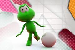 illustration de coup-de-pied de grenouille 3d Images libres de droits