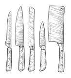 Illustration de couteaux, dessin, gravure, encre, schéma, vecteur illustration libre de droits