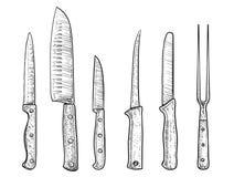 Illustration de couteaux, dessin, gravure, encre, schéma, vecteur illustration stock