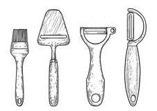 Illustration de couteaux, dessin, gravure, encre, schéma, illustration de vectorUtensil, dessin, gravure, encre, schéma, vecteur illustration libre de droits