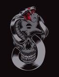 Illustration de crâne avec le cobra photographie stock