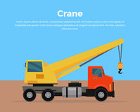 Illustration de Crane Banner Flat Design Vector de camion Photographie stock libre de droits
