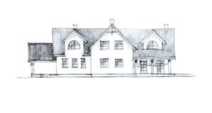 Illustration de crayon d'un plan de maison Photographie stock libre de droits