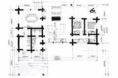 Illustration de crayon d'une ébauche de plan de maison Images stock