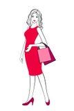 Illustration de croquis de fille avec des paniers illustration stock