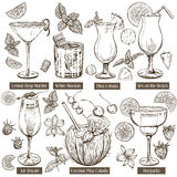 Illustration de croquis de vecteur, ensemble de cocktails Photo libre de droits