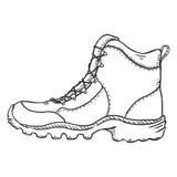 Illustration de croquis de vecteur - extrémité augmentant des bottes Vue de côté illustration libre de droits
