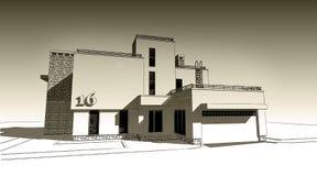 illustration de croquis du crayon 3d d'une conception extérieure de construction moderne de façade Vieux papier ou sépia illustration de vecteur