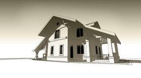 illustration de croquis du crayon 3d d'une conception extérieure de construction moderne de façade Vieux papier ou sépia illustration libre de droits