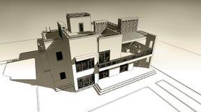 illustration de croquis du crayon 3d d'une conception extérieure de construction privée moderne de façade Vieux papier ou sépia illustration stock