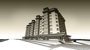 illustration de croquis du crayon 3d d'une conception extérieure de construction privée moderne de façade Vieux papier ou sépia illustration libre de droits