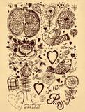 Illustration de cru avec des fleurs Photo libre de droits