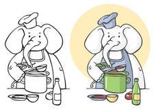Illustration de cuisinier d'éléphant Photos libres de droits