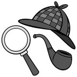 Illustration de détective Hat, de tuyau et de loupe Illustration Stock