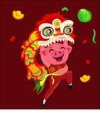 Illustration de danse de lion de porc de nouvelle année illustration libre de droits
