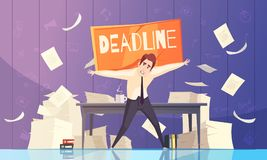 Illustration de Deadline Problems Cartoon d'homme d'affaires Images libres de droits