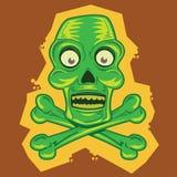Illustration de dessin animé de tiki de crâne et d'os croisés Photographie stock libre de droits