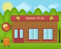 Illustration de dessin animé de vecteur Concept irlandais de bâtiment de bar de bière Photo stock