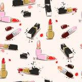 Illustration de dessin de main avec le rouge à lèvres Dirigez la configuration sans joint Photographie stock libre de droits