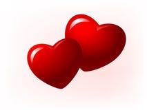 Illustration de deux coeurs rouges Image libre de droits