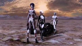Illustration de deux humains et de femmes étrangères près des motos salué par un extraterrestre grand sur un monde sec illustration libre de droits