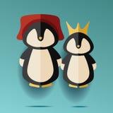 Illustration de deux masculins et de pingouins femelles dans le chapeau et la couronne Images libres de droits