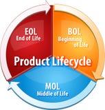 Illustration de diagramme d'affaires d'étapes de cycle de vie du produit Photos stock