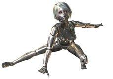 Illustration de Digital 3D d'un cyborg féminin Photos stock