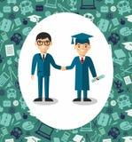 Illustration de diplômé et de professeur avec le fond des icônes d'éducation Photos stock