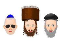 Illustration de divers visages et couvre-chef chez l'homme religieux juif illustration stock