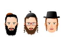 Illustration de divers visages et couvre-chef chez les hommes religieux juifs illustration libre de droits